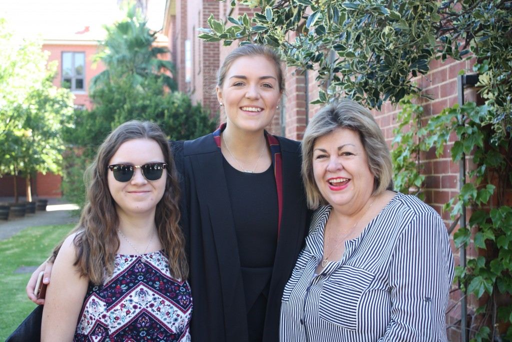 President of the College Club Mary Seagrim with her mother Anne-Marie and younger sister Bonnie