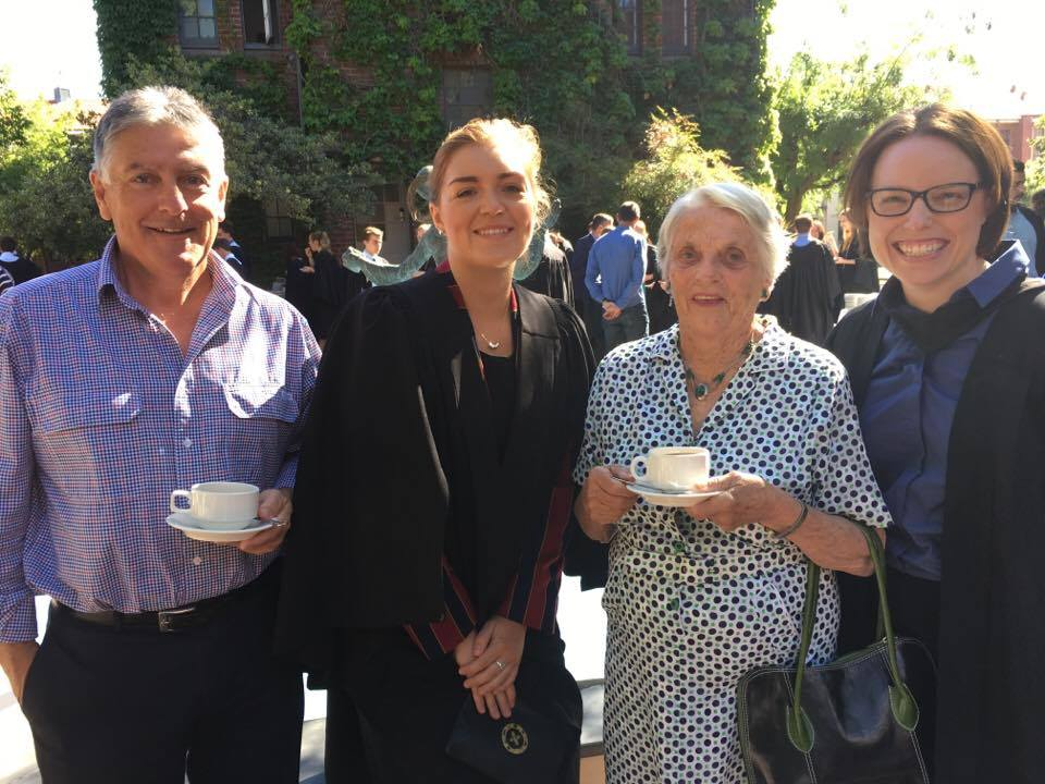 Angus McLeod, College Club President Mary Seagrim, Mary McLeod and Raphaela Oest