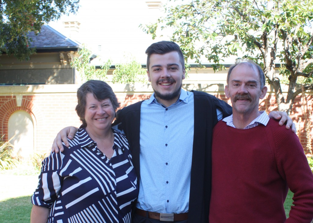 Lachlan Squires with parents John and Lesley from Watervale, SA