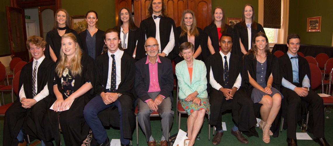 Cowan Grant Trustees Mr and Mrs Bob and Gayle Cowan with Cowan entry and further scholars - Front: Ryan Casey, Jessica Robinson, Duncan Cameron, Caleb Maru, Amelia Gibson and Brayden Jenke. Standing: Claudia Miller, Holly Crothers, Meekah Zangari, Carson Clark, Molly Arendt , Tiffany Finlay and Hayley Finlay