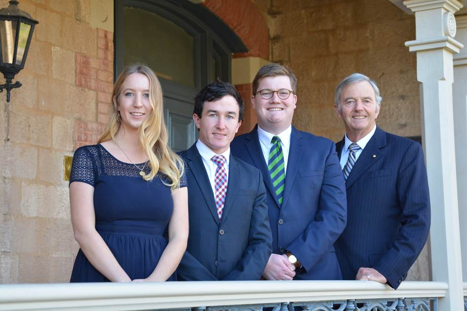 2017 scholars Ella Graham, MacKinlay Cookson, Daniel McKay and The Hon David Hawker AO